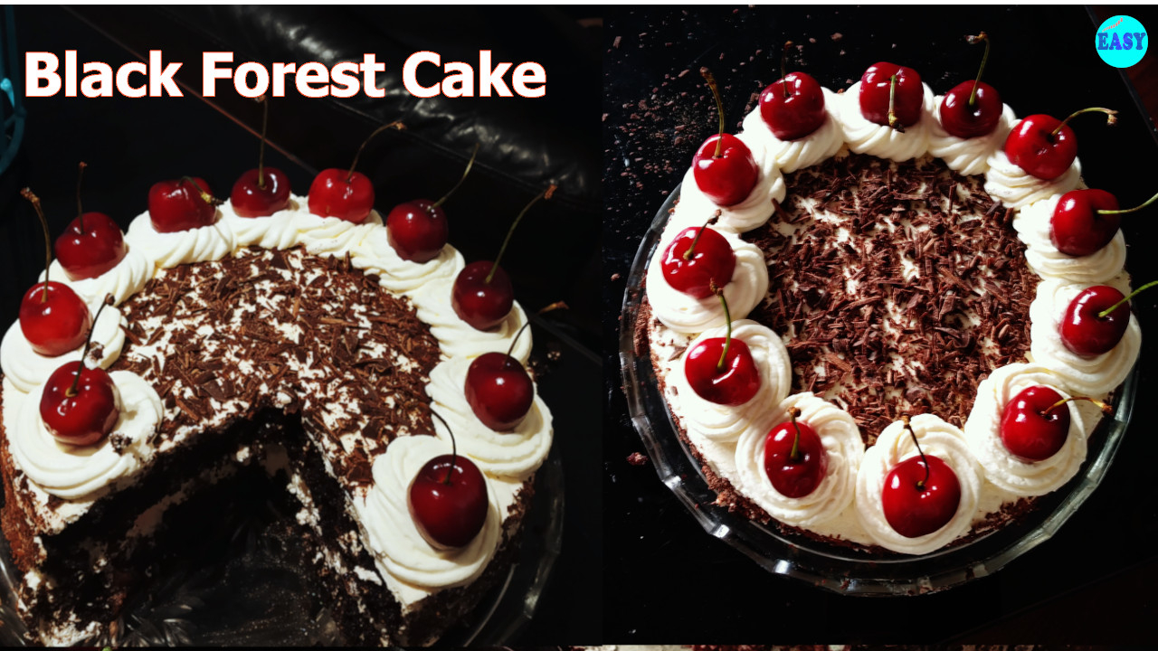 Eggless Black Forest Cake without oven